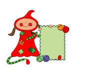Jingle bell christmas postcard. Girl holding christmas postcard adorned with decorative jingle bells Stock Photos