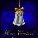Jingle bell with gold bow Royalty Free Stock Photos