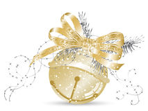 Jingle bell. Golden jingle bell with bow and needles Stock Images