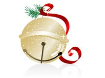 Jingle bell. Golden jingle bell with red ribbon Stock Photo