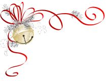 Jingle bell. Golden jingle bell with red ribbon Stock Image