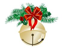 Jingle bell. Golden jingle bell with red ribbon and needles Royalty Free Stock Images
