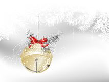 Jingle bell. Golden jingle bell on white background with snowflakes Royalty Free Stock Photos