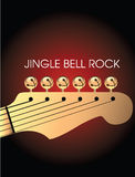 Jingle Bell Guitar. A background of a guitar head with jingle bells and the text Jingle Bell Rock Stock Images