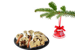 Jingle bell and holiday cake royalty free stock images