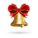 Jingle bell with red bow. On a white background. Vector illustration Stock Photo