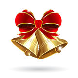 Jingle bell with red bow Royalty Free Stock Images