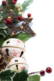 Jingle bell and star Christmas border Stock Photo