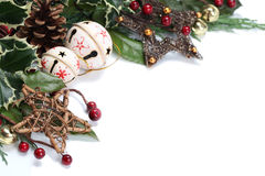 Jingle bell and star Christmas border Royalty Free Stock Photo