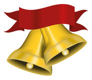 Jingle Bells. Vector Illustration of Golden Christmas Jingle Bells With Red Ribbon - Isolated on White Background vector illustration