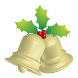 Jingle bells. A 3d drawing of jingle bells and holly berries Stock Photos