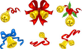 Jingle Bells. Vector clip art illustration of Christmas bells and jingle bells with ribbons and bows Royalty Free Stock Photos