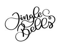 Jingle Bells annerisce l'iscrizione calligrafica della scrittura su un fondo bianco Testo di Natale Fotografie Stock
