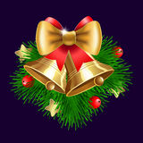 Jingle bells with  bow and fir tree branches Royalty Free Stock Photography