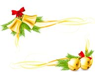 Jingle Bells and Christmas decorative corners. Made with gradient mesh Stock Images