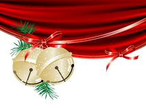 Jingle bells. Gold Christmas jingle bells and the curtain Royalty Free Stock Photography