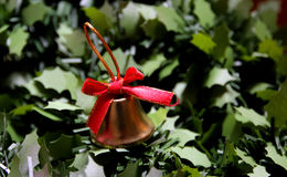 Jingle bells. Golden bell on  the tree Royalty Free Stock Photography