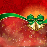 Jingle bells with green bow on a shines background. Vector illustration Stock Photography