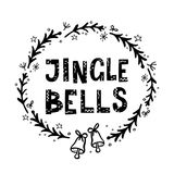 Jingle Bells Greeting Card. With Hand Lettering Stock Photography