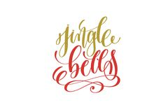Jingle bells hand lettering holiday inscription to christmas. And new year celebration, calligraphy vector illustration Stock Photos