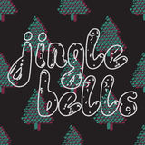 Jingle bells. Handwritten calligraphy. Card with hand drawn pine fir branches, christmas tree. Brush typography for poster, cards, invitations and other design Stock Photography
