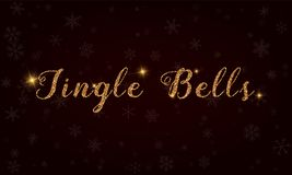 Jingle bells. Golden glitter hand lettering greeting card. Luxurious design element, vector illustration Royalty Free Stock Photos