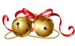 Jingle bells with red bow. Christmas icon of jingle bells with red bow Royalty Free Stock Image