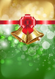 Jingle bells with red bow. On a shines background. Vector illustration Royalty Free Stock Photos