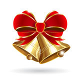 Jingle bells with red bow. On a white background. Vector illustration Stock Photo