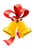 Jingle bells with red bow. Illustration Royalty Free Stock Images