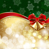 Jingle bells with red bow on a shines background. Vector illustration Royalty Free Stock Images