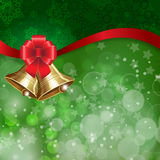 Jingle bells with red bow on a shines background. Vector illustration Stock Photography