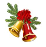 Jingle bells with red bow on a white background. Stock Image
