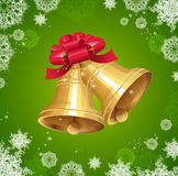 Jingle bells with red bow on winter background Royalty Free Stock Photography