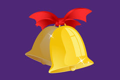 Jingle bells with red ribbon  on Royalty Free Stock Photo