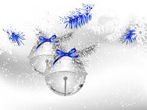 Jingle bells. Silver jingle bells on white background with snowflakes Stock Image