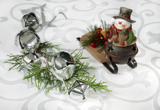 Jingle bells and snowman Stock Images