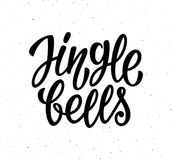 Jingle Bells vector calligraphic lettering text. Jingle Bells calligraphy lettering text on white background with vintage paper texture. Retro greeting card for Royalty Free Stock Image