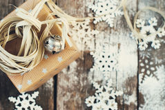 Jingle Hand Bell and Natural Twine on Christmas Royalty Free Stock Image