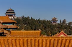Jingshanpark seen from the forbidden city stock photography