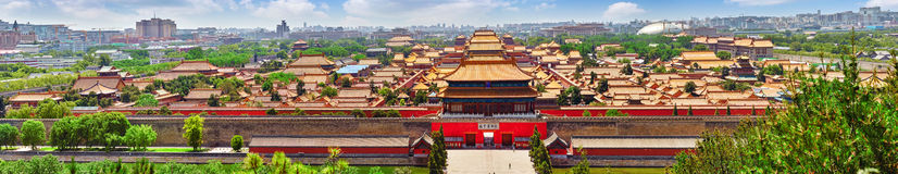 Jingshan Park,panorama above on  the Forbidden City, Beijing. Royalty Free Stock Images