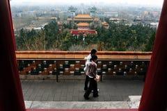Jingshan parkerar i Beijing Kina Arkivfoto