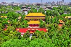 Jingshan parkerar, panorama över på Pekingstad Arkivbilder