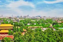 Jingshan parkerar, panorama över på Pekingstad Fotografering för Bildbyråer