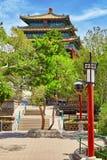 Jingshan parkerar, paviljongen av den eviga våren (Wanchun ting), ne Fotografering för Bildbyråer