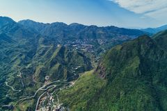 Jinguashi Aerial View - Famous travel destinations of Taiwan, panoramic bird's eye view with morning blue bright sky. royalty free stock images