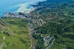 Jinguashi with Yinyang Sea Aerial View - Famous travel destinations of Taiwan, panoramic bird's eye view. Shot in Ruifang District, New Taipei City, Taiwan Royalty Free Stock Image
