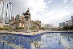 Jinhu fyrkant i huvudstaden av Guangxi Zhuang den autonoma regionen: Nanning Royaltyfri Foto