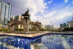 Jinhu fyrkant i Nanning, Kina Royaltyfria Foton