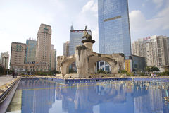 Jinhu square in the capital of the Guangxi Zhuang Autonomous Region: Nanning. Nanning, China-Nov.9, 2014: Jinhu square in the capital of the Guangxi Zhuang Royalty Free Stock Photos